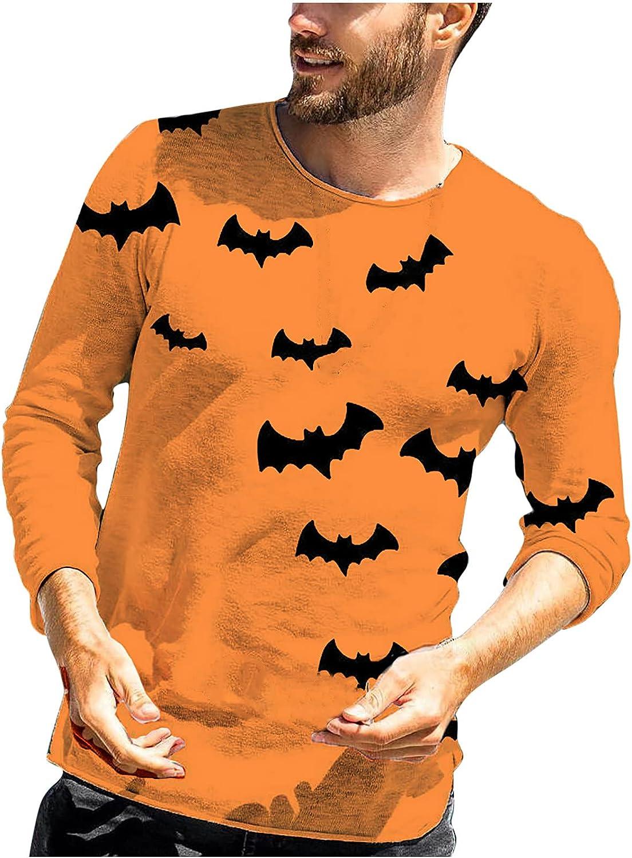 Halloween Long Sleeve Tops for Men Casual Pumpkin Bat Printed T-Shirt Cute Graphic Tee Shirts Color Block Pullover Blouse