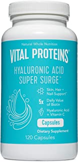 Hyaluronic Acid Capsule Pills - 120mg of Hyaluronic Acid Supplement, 150 mcg of Biotin, and 180mg of Vitamin C