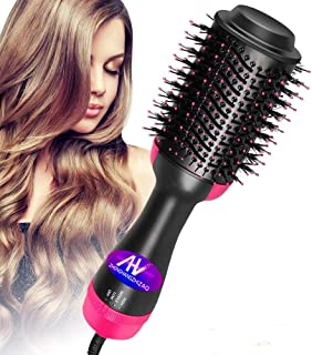 Hot Air Brush,One Step Hair Dryer & Volumizer Hair Dryer & Volumizing Styler Comb 3-in-1 Negative Ion Straightening Brush Salon Hair Straightener Brush Curler for All Hair Types