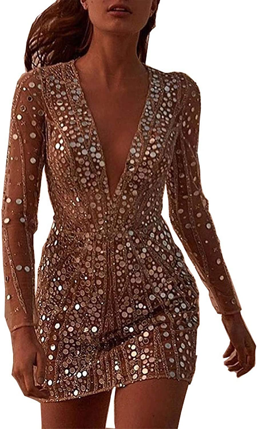 Kexle Womens Fashion Sexy Deep V Neck Metallic Glitter Ruched Long Sleeve Party Dress wrap Buttocks Dress