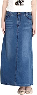 Women's Casual Stretch Waist Washed Denim A-line Maxi Skirt