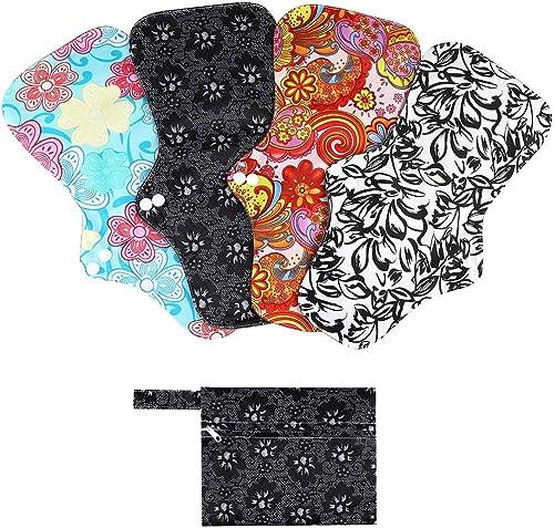 Rovtop 4 pcs 35 cm Serviettes Hygiéniques Lavables pour la Nuit Pads Menstruel Chiffon Serviette Menstruelle Réutilis...