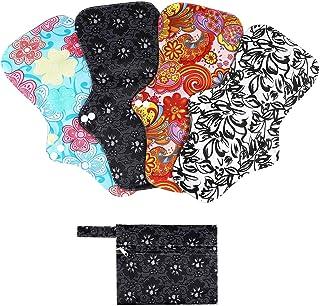 Rovtop 4 pcs 35 cm Serviettes Hygiéniques Lavables pour la Nuit Pads Menstruel Chiffon Serviette Menstruelle Réutilisables...