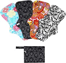 Rovtop 4 pcs 35 cm Serviettes Hygiéniques Lavables pour la Nuit Pads Menstruel Chiffon Serviette Menstruelle Réutilisables au Charbon de Bambou avec une Queue Festonnée + 1 Mini Sac Portatif