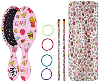 Wet Brush Ready School Set for Kids Hair Detangling Hairbrush with Hair Bands, Pencils and Pouch, Multicolor (ZWR835RESTSC)