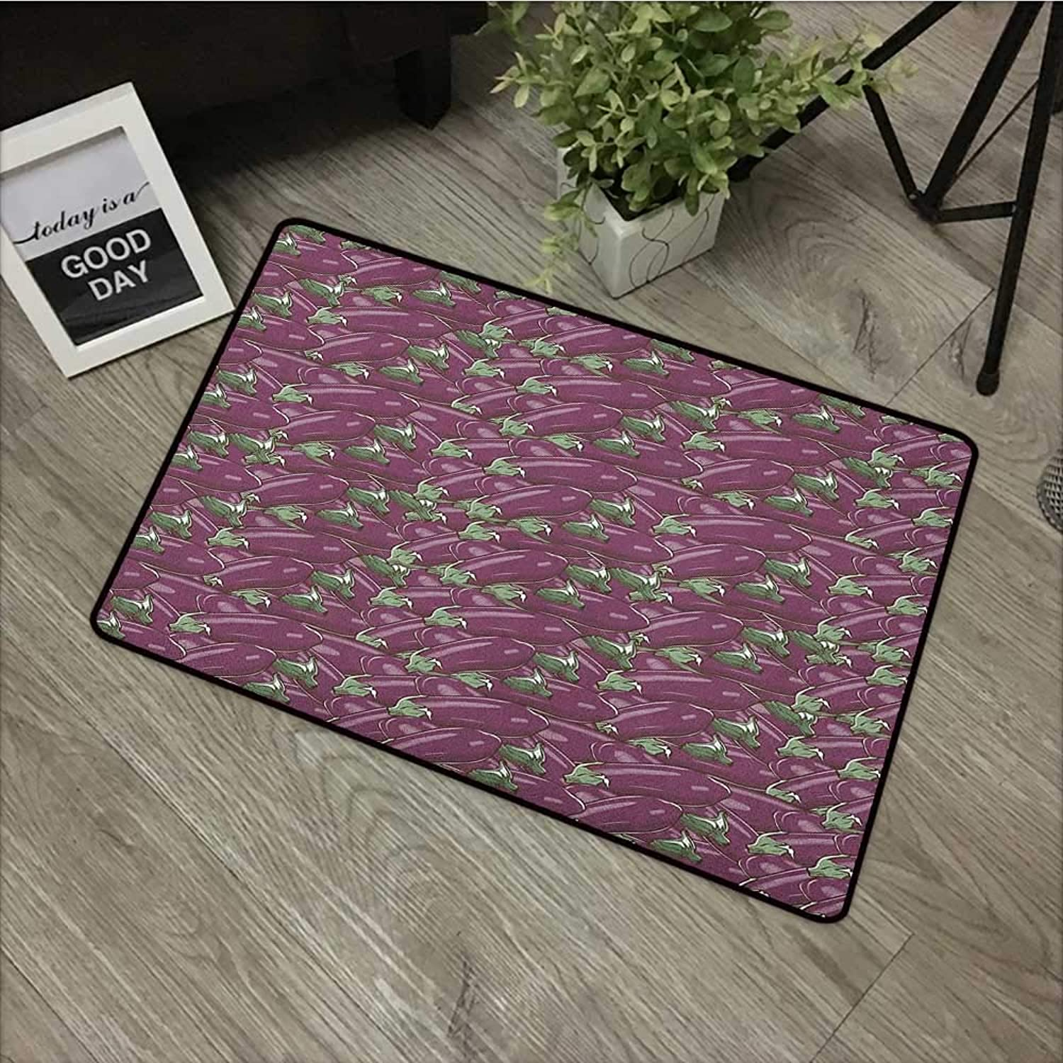 Pool Anti-Slip Door mat W35 x L59 INCH Eggplant,Retro Inspired Stacks of Delicious Eggplants Product of Nature Ingredient Cusine Food, Purple Easy to Clean, Easy to fold,Non-Slip Door Mat Carpet
