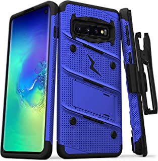 ZIZO Bolt Series Galaxy S10 Case | Military-Grade Drop Protection w/Kickstand Bundle Includes Belt Clip Holster + Lanyard Designed for 6.1 Samsung S 10 Blue Black