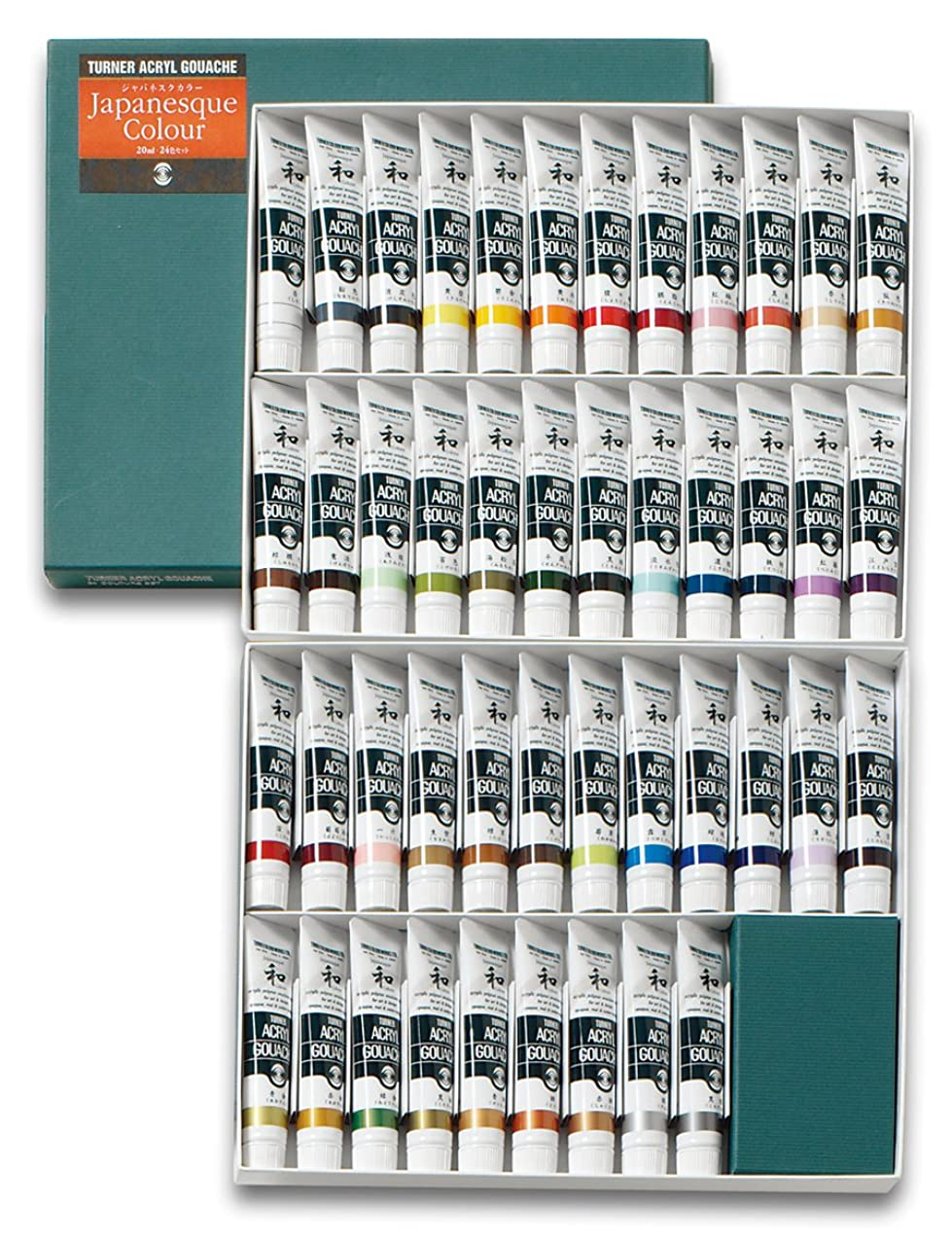 Turner Acrylic Paint Set Japanesque Artist Acryl Gouache - Based on Traditional Japanese Colors from Nature, Coarse, Rough, Gritty Texture - [Set of 45 | 20 ml Tubes]