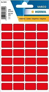 Herma 3642 Dikdötrgen Etiketler, 12x19Mm, Kırmızı