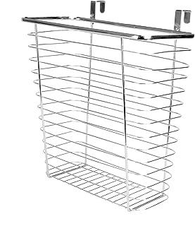 Over Door Cupboard Bin | Multi-Purpose Storage Basket | Kitchen & Bathroom Hanging Basket | Chrome Steel Mounted Organiser | Waste Bag Holder | M&W