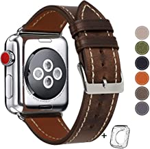 Compatible for Apple Watch Band 38mm 40mm Men,Top Grain Leather Band Replacement Strap iWatch Series 5/4/ 3/2/ 1,Sport, Edition. New Retro discoloured Leather (Coffee+Silver Buckle, 38mm40mm)