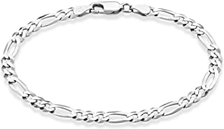 "Solid 925 Sterling Silver Italian 5mm Diamond-Cut Figaro Chain Bracelet for Women Men, 6.5"", 7"", 7.5"", 8"