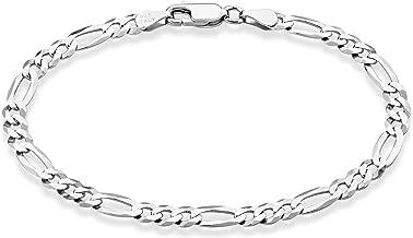 """MiaBella Solid 925 Sterling Silver Italian 5mm Diamond-Cut Figaro Chain Bracelet for Women Men, 6.5"""", 7"""", 7.5"""", 8"""