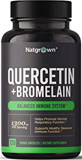 Quercetin with Bromelain Supplement Complex - 500mg Quercetin + 150mg Bromelain Per Capsule - 1300mg per Serving - Helps P...