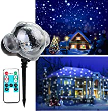 KOOT Christmas Snowfall Light Rotating White Snowflake Projector Waterproof Outdoor or Indoor with Wireless Remote for Holiday Xmas Halloween Party Wedding Patio and Garden