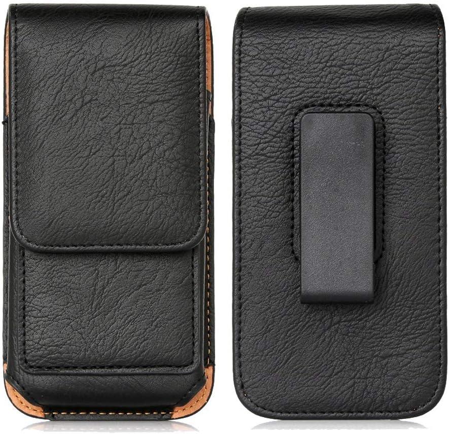 Belt Clip Case for Motorola E5 Play GO / Moto G7 Optimo X4, LG Journey / Phoenix 4 3 / Rebel 4 Premium Leather Holster Pouch Magnetic Vertical Waist Phone Bag Rotate Belt Clip & ID Card Holder