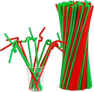 ADXCO 120 Pieces Christmas Extra Long Flexible Straws Colorful Disposable Plastic Drinking Straws for Christmas New Year P...