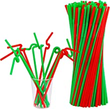 ADXCO 240 Pieces Christmas Extra Long Flexible Straws Colorful Disposable Plastic Drinking Straws for Christmas New Year P...
