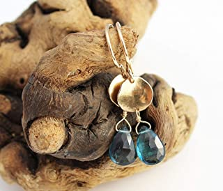 London Blue Topaz Earrings Yellow Gold. 14k Gold Dangle Earrings with London Blue Topaz Gemstone.