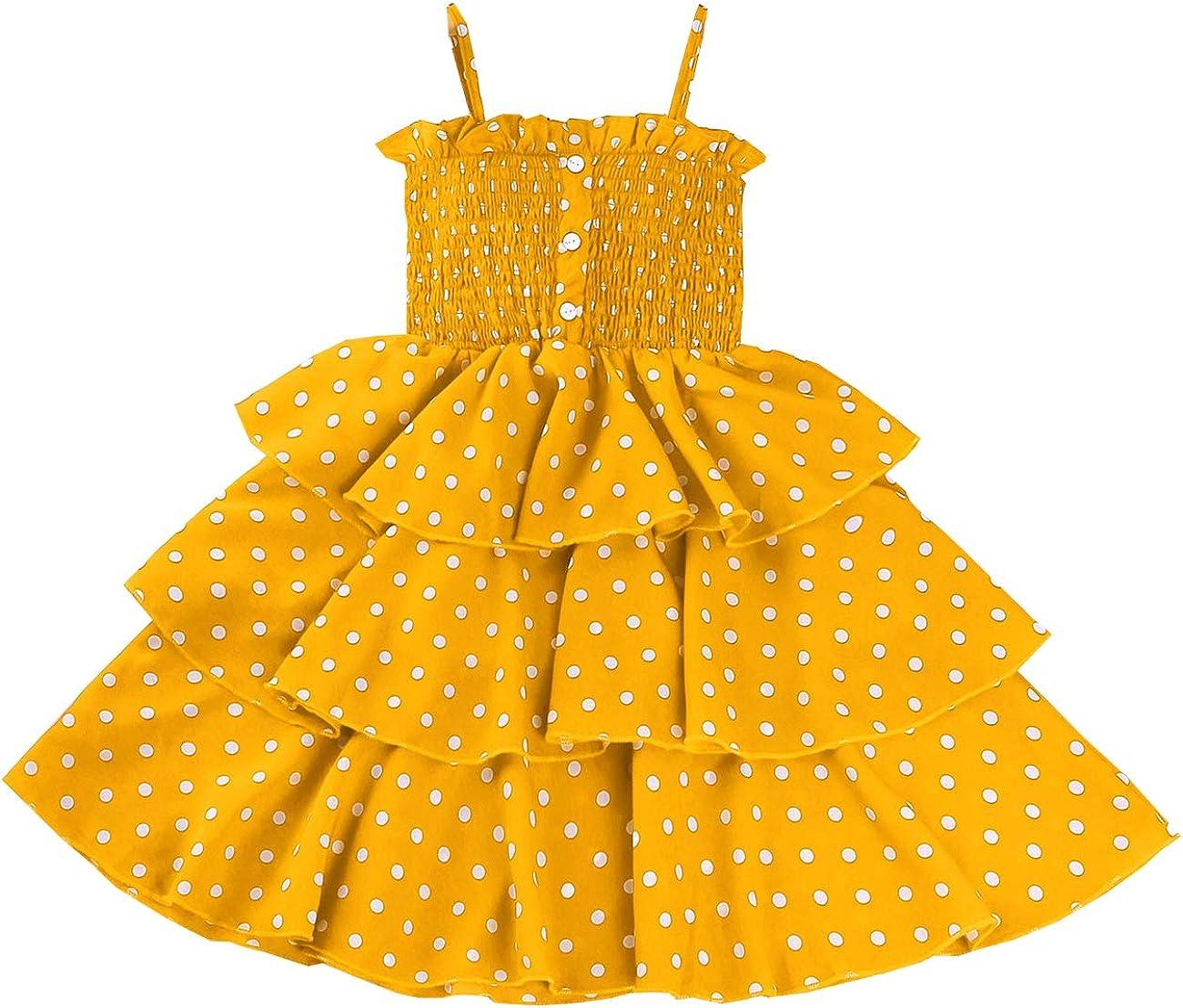 VINUOKER Lillte Girls Summer Dress Toddler Princess Sleeveless Tutu Kids A-Line Tiered Chiffon Polka Dot Cupcake Dress