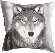 Photographic Wolf Fox Owl Print Forest Animals Accent Decorative Throw Pillow Cover 100% Cotton Twill Throw Pillow Cover Cushion 16-by-16 inch Native American Photo Print (Wolf)