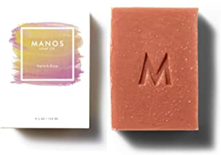 Sponsored Ad - Manos Soap Co. French Rose Clay Soap Bar Fragrance Free with Lemongrass, Tea Tree Oil - Bar Handmade in USA...