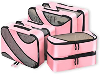 Bagail 6 Set Packing Cubes,3 Various Sizes Travel Luggage Packing Organizers Pink
