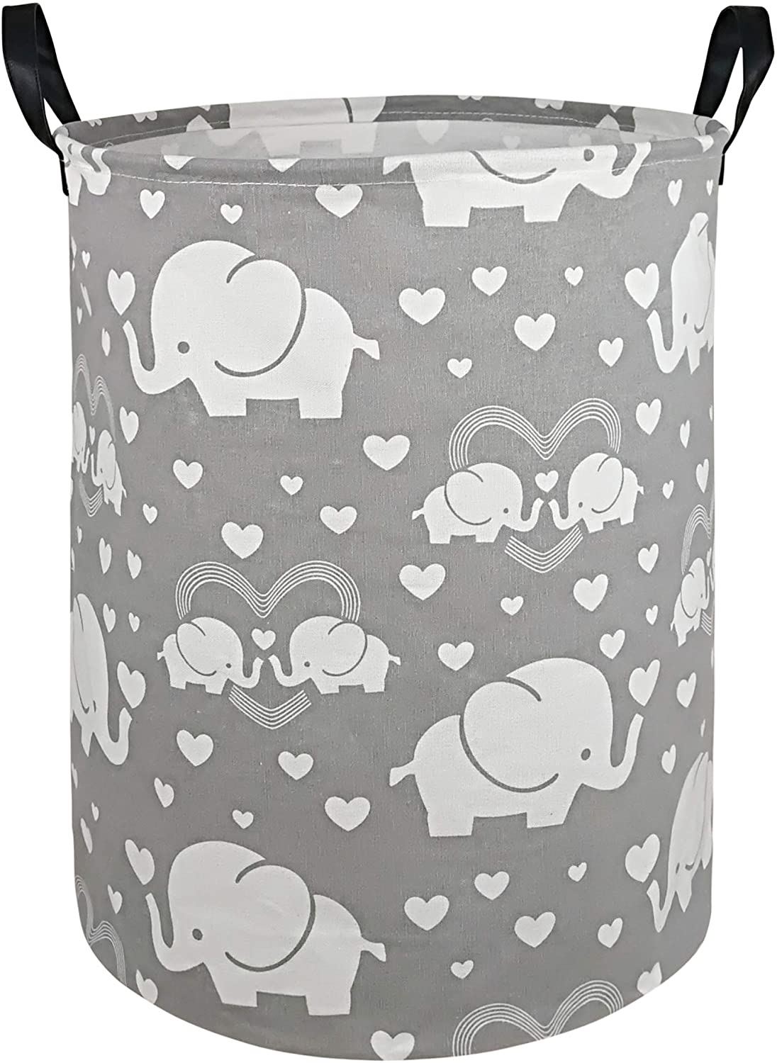 DUYIY Canvas Storage Basket with Handle Large Organizer Bins for Dirty Laundry Hamper Baby Toys Nursery Kids Clothes Gift Basket(Love Elephant)