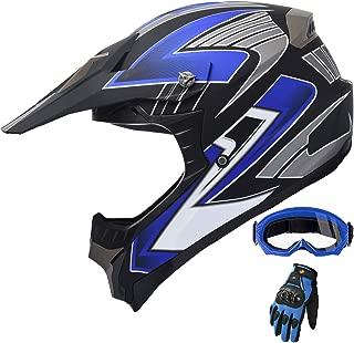 Adult Motocross ATV Helmet Dirt Bike OffRoad Mountain Bike Helmet Goggles Gloves Combo Matt Blue 189 (Large)