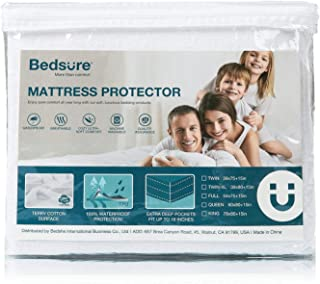 Bedsure 100% Waterproof Mattress Protector Cal King Size Terry Cotton Deep Pocket Hypoallergenic Mattress Cover-White 72 x 84 inches