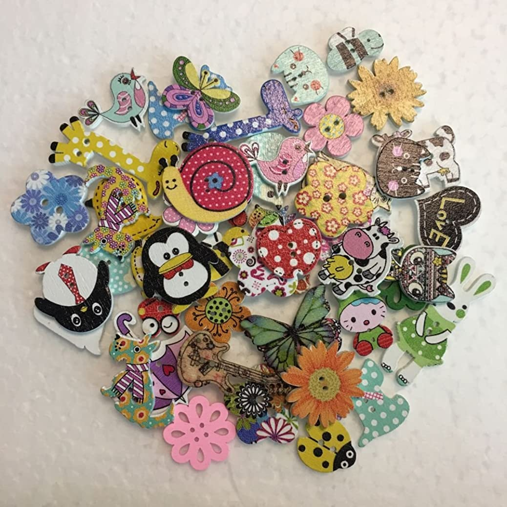 MySweetCastle 200pcs Assorted Design Wooden Buttons for Crafts Scrapbooking or Sewing jhotmbtyob
