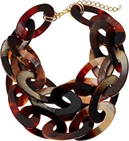Kenneth Jay Lane - 2 Row Matte Horn with Polished Gold Chain Necklace