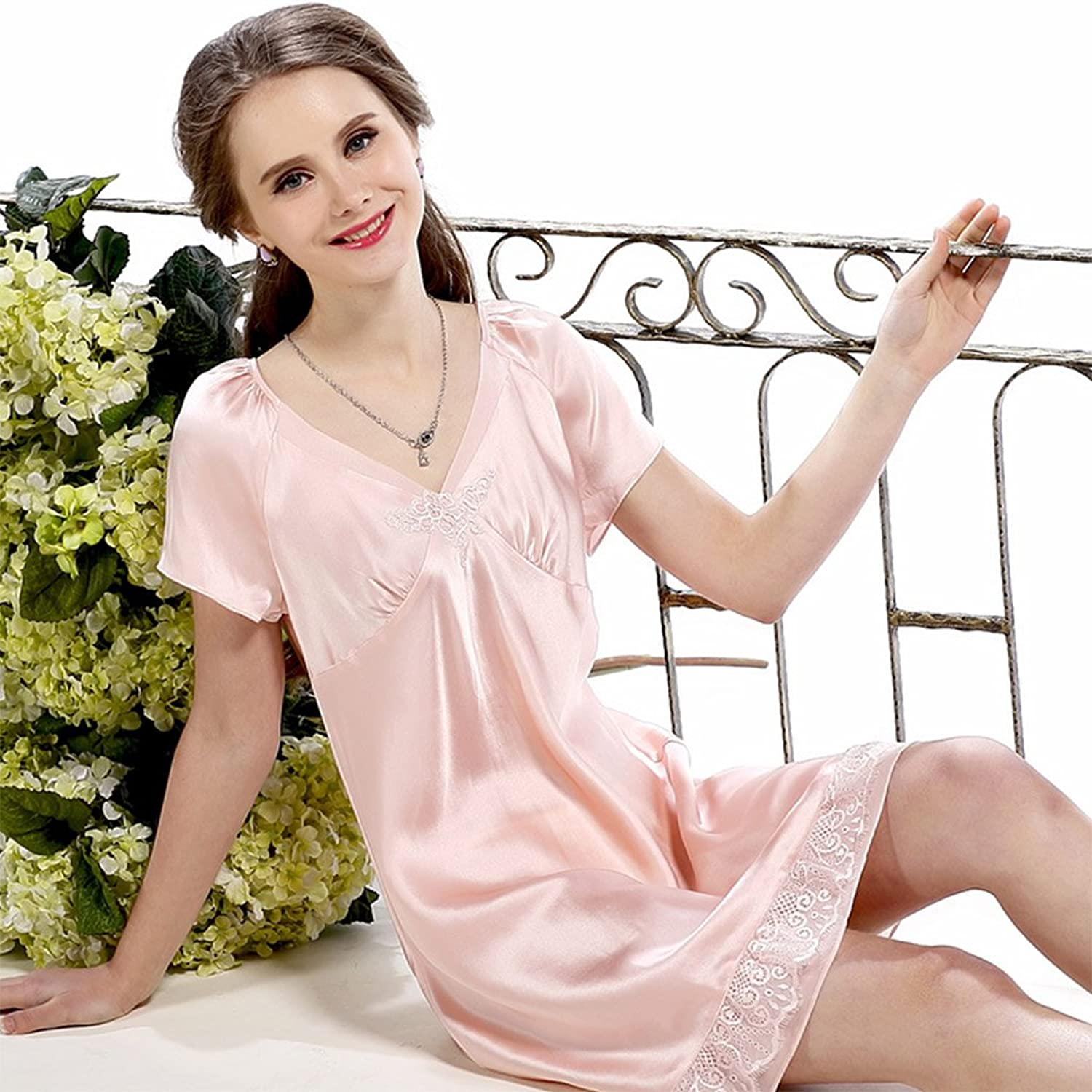 Summer New Silk ShortSleeved Pajamas 100% Silk Pajamas Sexy Loose Home Service Spring (color   Pink, Size   XL)