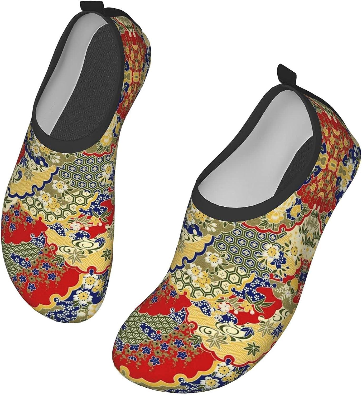 Japanese Floral Pattern Cherry Blossom Classic Japanese Wave,Umbrella,Kimonos,Sakura(9) Water Shoes for Womens Mens Summer Barefoot Shoes Quick Dry Aqua Socks for Beach Swim Yoga Exercise