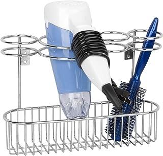 Hair Dryer Holder Cabinet Door-Hair Tool Organizer Wall Mount-Hot Styling Tool Organizer-Bathroom Storage Basket for Hair Dryer, Flat Iron, Curling Iron, Brushes-Chrome