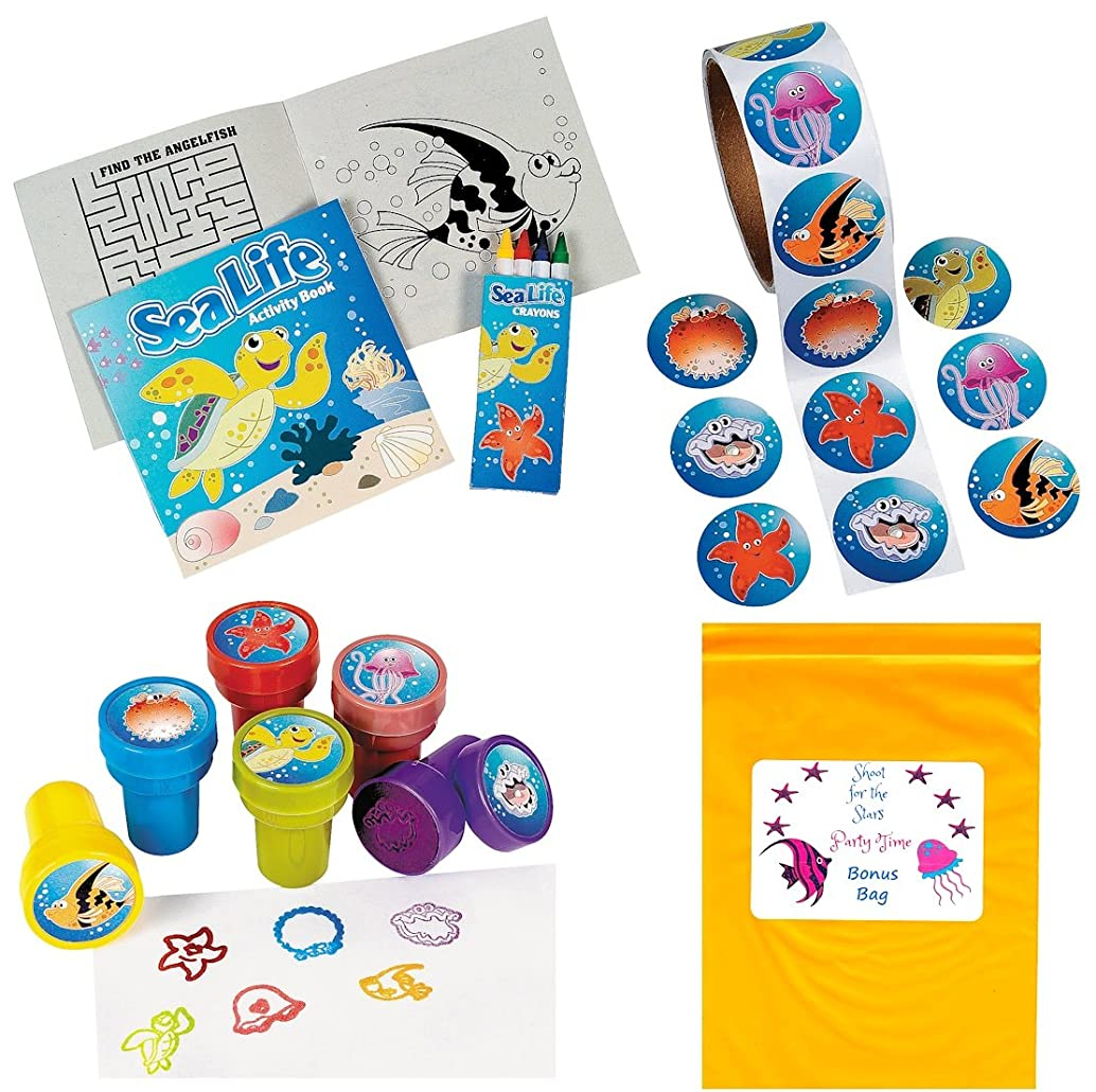 Tropical Sea Life Artistic Party Favor Pack (12 Activity Books with Crayons, 100 Sea Life Stickers, 12 Ocean Creature Stampers)