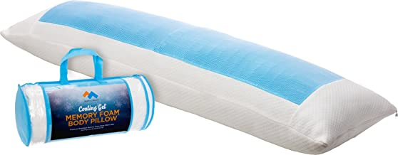 Mindful Design Cooling Memory Foam Body Pillow - Extra Firm Full Shredded Memory Foam Body Pillow w/Cooling Gel, Support and Comfort for Stomach and Side Sleepers