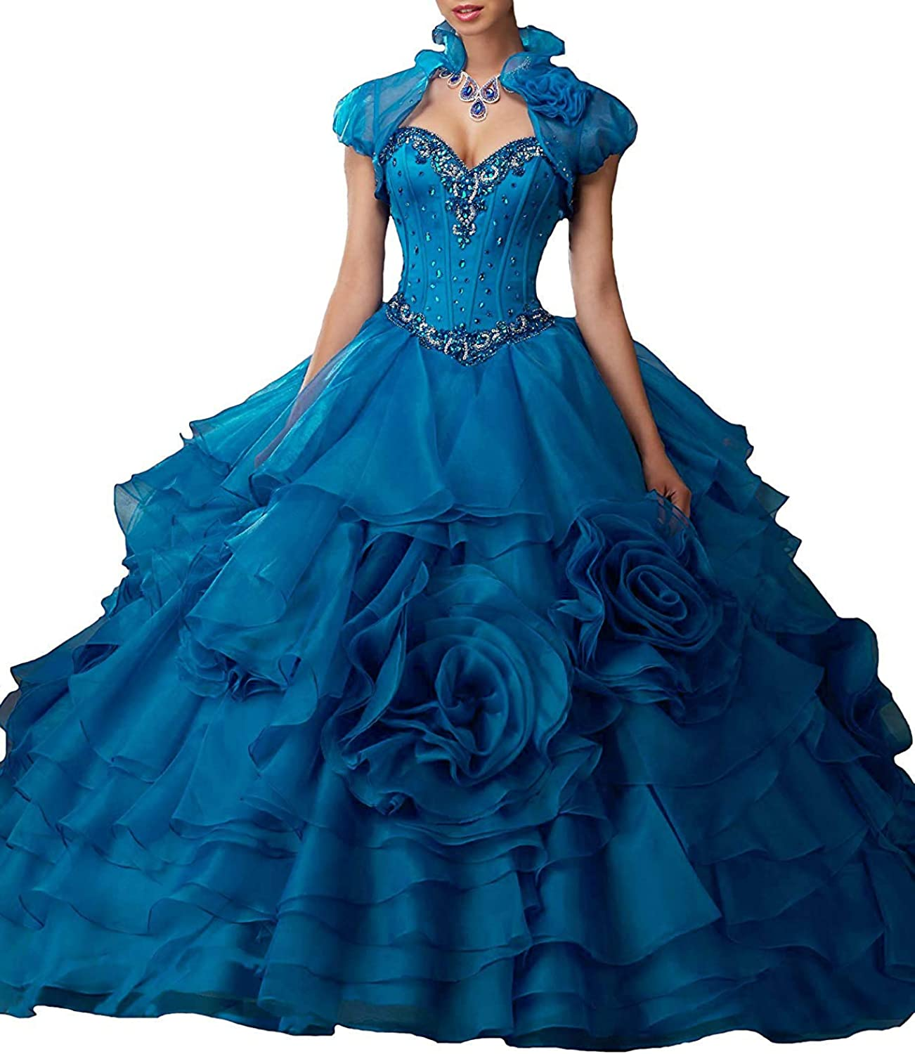 20KyleBird Women's Sweetheart Beaded Quinceanera Dresses with Jacket Organza Floral Ruffles Sweet 16 Dresses Ball Gown