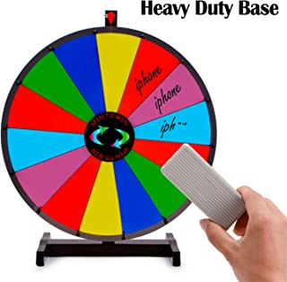 T-SIGN 24 Inch Heavy Duty Spinning Prize Wheel, Tabletop 14 Slots ColorPrize Wheel Spinnerwith Dry Erase Marker and Eraser for Carnival and Trade Show, Win The Fortune Spin Game