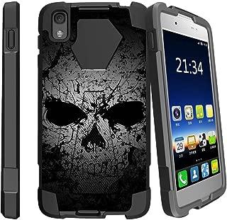 MINITURTLE Compatible with Alcatel Idol 4, Alcatel Nitro 49 Kickstand Dual Layer Black Case - Faded Skull