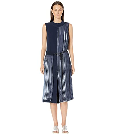 YIGAL AZROUEL Two-Tone Pleated Georgette Crew Neck Dress with Wrap Front (Cornflower Midnight Combo) Women