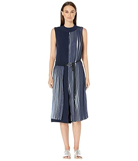 YIGAL AZROUËL Two-Tone Pleated Georgette Crew Neck Dress with Wrap Front