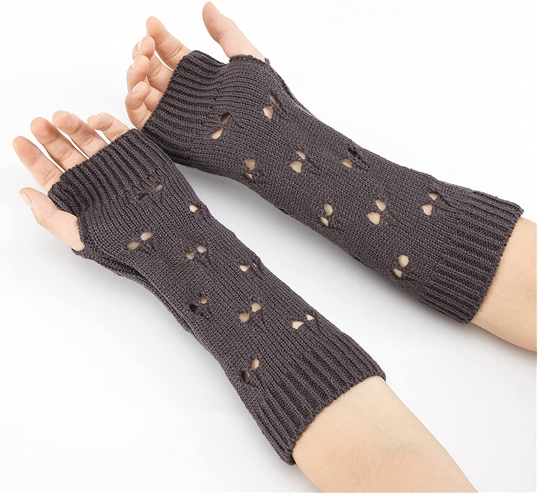 CHHNGPON Ladies Gloves Women Gloves Stylish Hand Warmer Winter Gloves Women Arm Crochet Knitting Hollow Heart Mitten Warm Fingerless Gloves (Color : Dark Grey, Gloves Size : One Size)