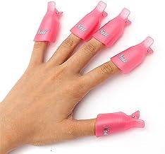 Sungpunet 10PC Plastic Acrylic Nail Art Soak Off Cap Clip UV Gel Polish Remover Wrap Tool Pink
