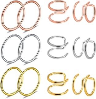 JININA Fake Nose Rings, 12pcs Fake Ear Cuffs Stainless Steel Clip On Ear Cuffs Fake Cartilage Cuff Earrings Lip Nose Rings for Body Piercing