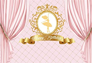 CSFOTO 6x4ft Background for Happy Birthday Princess Pink Curtain Photography Backdrop Girl Golden Elegant Ballet Dancer Celebrate Party Decoration Child Kid Baby Studio Props Polyester Wallpaper