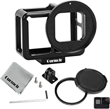 Gurmoir Aluminum Alloy Housing Hollow Frame Case for Gopro Hero 7 Black/Hero 6/Hero5/Hero(2018) Action Camera,Good GPS/Wi-Fi Signal Receiving,Metal Protective Frame with Back Door with 52mm UV Filter