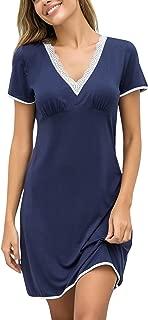 Ekouaer Night Shirts Women Nightgowns Sexy Sleep Shirts Lace Trim V Neck Short Sleeve Night Sleepwear Soft Nightshirt S-XXL