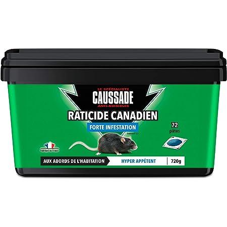 CAUSSADE CARPT720 Raticide Canadien Pat'Appât Fortes Infestations | 72 pâtes | Lieux Secs | Lieux Humides | Hyper Appètent