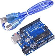 kuman UNO R3 Board ATmega328P with USB Cable for Arduino - Compatible with Arduino UNO R3 Mega 2560 Nano Robot for Arduino IDE AVR MCU Learner K53 (Renewed)